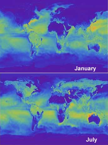 Evaporation in January and July 2014, MERRA
